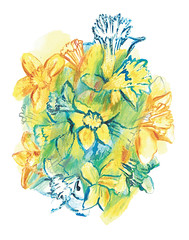 Daffodils (Sharon Farrow) Tags: daffodils flowers spring springflowers colour colourful plants illustration illustrator illustratedflowers illustratedplants mixedmedia paint pencil ink gouache watercolour waxcrayon sharonfarrow springtime bright color seasons uk