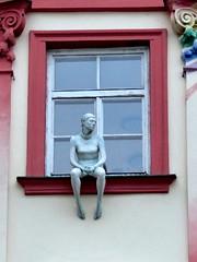 Sitting at the window, Brno (MarySloA) Tags: europe républiquetchèque tchéquie czechrepublic brno statue art city ville urban urbain