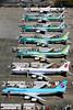 Boeing Line Up at Paine Field (Mark Harris photography) Tags: spotting plane aviation canon kpae seattle washington 747 7478 korean airchina paint 777 lightpole pae lineup avporn