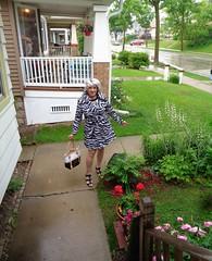 Not Singing In The Rain . . . (Laurette Victoria) Tags: rain raincoat sandals woman laurette silver purse