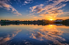 Summer evening, Norway (Vest der ute) Tags: xt20 norway rogaland haugesund water waterscape landscape lake houses reflections mirror sunset trees serene sunrise evening fav25 fav200