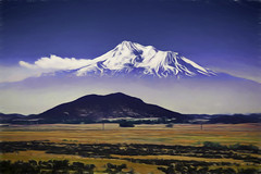 Mt Shasta Lookout (dougbank) Tags: mountains mountain outdoors outside landscapes landscape painterly painted digitalartpainting ice snow glacier glaciers california horizontal bluesky