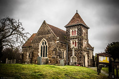 Church in the village (The Frustrated Photog (Anthony) ADPphotography) Tags: architecture category england external hertfordshire places stondon travel church placeofworship countryside rural village villagechurch villagelife canon1585mm canon70d canon outdoor bush trees gate sign building structure brick sky clouds greyclouds lawn grass bank path door tower arch windows graveyard gravestones headstones tree