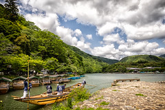 Katsura River (evilDink) Tags: landscape xf14mmf28 nature arashiyama edited xt1 mirrorless fujifilm clouds kyoto sightseeing niksoftware nikcollectionbygoogle boat water viveza japan colorefexpro4