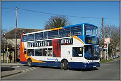 18171, Birchington (Jason 87030) Tags: dennis trident alx400 stagecoach 18171 gx54dvo railway station train bus doubledecker red white blue orange wheels 33 margate thanet kent eastkent southeast april 2018