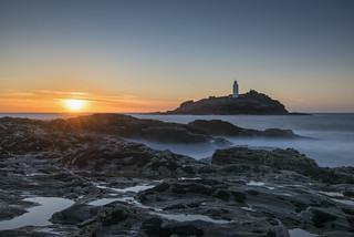 Godrevy Lighthouse sunset.