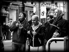 Hare Krishna procession (Kris Lantijn) Tags: hare krishna harinam procession meir antwerp singing dancing street people city urban black white