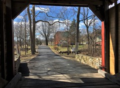 Thurmont MD ~ Roddy Rd covered bridge (karma (Karen)) Tags: thurmont maryland frederickco bridges roddyrdcoveredbridge nrhp historicbridge viewbeyond houses trees branches shadows topf25