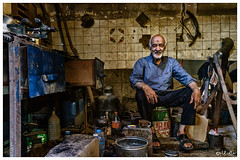 The Tinsmith, Yazd, Iran (isitaboutabicycle) Tags: tinsmith iran persia yazd iranian metalwork workshop portrait oldman