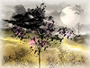 a cloudy day (HocusFocusClick) Tags: sky clouds cloudy landscape moon trees bushes nature art digitalart design creation plants grass painterly watercolor