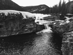 Cool Falls .... (Mr. Happy Face - Peace :)) Tags: art2018 blackwhite falls springtime albertabound yyc canada kcountry waterfalls monochrome