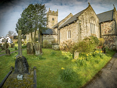 Early morning at St Isan's Church. (All I want for Christmas is a Leica) Tags: panasoniclumixgf5 olympus9mmfisheyelens cardiff church churchesinwales churchgrounds churchtower grass cemetery headstones daffodils panasoniclumix