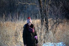 Portrait (michaeldantesalazar) Tags: portrait nature winter family outdoors manitoba canada tree sister folk forest woods wood grass snow hat cold