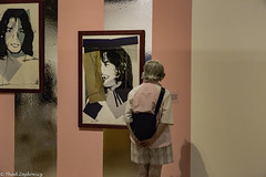 Warhol Admirer in Pink (Thad Zajdowicz) Tags: zajdowicz palmsprings california usa travel canon eos 5d3 5dmarkiii dslr digital lightroom availablelight ef24105mmf4lisusm art andywarhol woman jacket color pink colour palmspringsartmuseum candid composition person