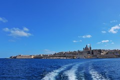 Ferry's Wake (Douguerreotype) Tags: cathedral church fort city buildings cityscape malta blue valletta architecture water