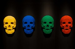 Skulls (Karen_Chappell) Tags: art lego blocks museum skull four 4 black blue green red spectrum colourful colours colour color travel ottawa ontario block yellow
