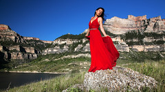 untamed - wild and free (OneLifeOnEarth) Tags: onelifeonearth montana bighorncanyon ehir 1407 selfportrait canon red dress girl landscape poetry