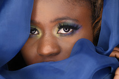 Peeking Out (PVA_1964) Tags: nikon d850 model female woman girl studio africanamerican black blue mua samys samyscamera ann modelmayhem