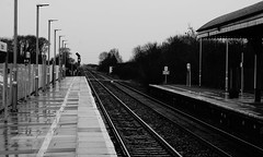Waiting for the Ghost Train (JamieHaugh) Tags: yatton north somerset england uk gb great britain sony a6000 zeiss alpha ilce6000 black white monochrome bw railway ghost train tracks rain wet lines horizon pathway waiting spooky haunted