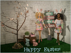 Easter 2018 (Mary (Mária)) Tags: easter spring happyeaster mbili steffie barbie doll toys collector dollphotography dollphotographer mattel bunny eggs rabbit pink pastel fashion fashionistas handmade diorama miniatures brick fashionfever marykorcek