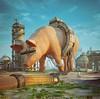 Big man, pig man. (Jan0nline) Tags: digital art photoshop pig greed mcdonalds future meat pink floyd