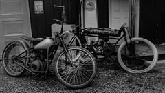 Two Bikes (Tim @ Photovisions) Tags: bike cycle motorcycle indian simplex servicycle monochrome fuji nebraska blackandwhite