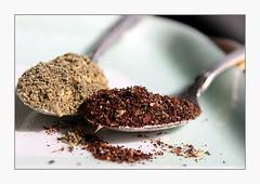 Za'atar (overthemoon) Tags: condiments zaatar oregano sesameseeds salt sumac spoons frame herbs spices food macromondays