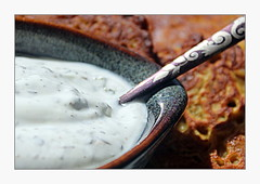 Raita (overthemoon) Tags: home cooking raita indianfood bhajis bowl spoon frame condiment yoghurt explore interestingness 51