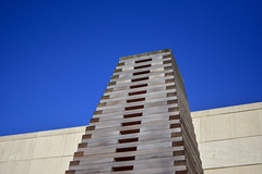 Outdoor Installation (thatSandygirl) Tags: outdoor art installation publicart wood stacked tower lines sky spring columbus museum columbusmuseumofart sculpturegarden outside cmoa blue tan grey gray