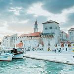Cruise boats dock in Trogir town in Croatia thumbnail