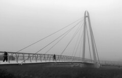 Footbridge in the Mist (WorcesterBarry) Tags: blackwhite blackandwhite bnw bridge riversevern travel people weather