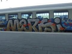 MERSI (mkorsakov) Tags: münster hbf bahnhof mainstation zug train ic intercity graffiti piece bunt colored mersi