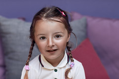 The Faculty of Wonder. (icarium.imagery) Tags: childphotography childportrait girl canoneos5dmarkiv canonef85mmf12liiusm captureone family naturallight browneyes darkhair expression sundaylights