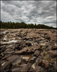 (Jonas Thomén) Tags: cliffs klippor clouds moln forest woods skog sea hav stone sten water watten shore kust strand beach