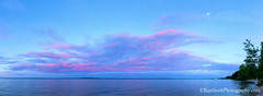 Lake Michigan ... reflected sunset with halfmoon (Ken Scott) Tags: reflectedsunset facingeast halfmoon panorama leelanau michigan usa 2018 june summer 45thparallel fhdr kenscott kenscottphotography kenscottphotographycom freshwater greatlakes lakemichigan
