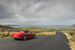 Mamore Gap Red (syf22) Tags: car automobile auto autocar automotor motor motorcar motorised porsche porscheclubgb porscheboxster 981s boxster981s red guardsred softtop convertible sportscar germanmade madeingermany mamoregap wildatlanticway eire ireland scenic viewpoint drive route rear back backside tail tailgate ass arse behind