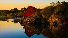 HideOuts (evakongshavn) Tags: sunset reflections redhouse red house northsea hideouts water waterscape ocean oceascape sealine seashore