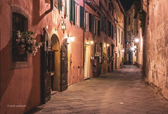 Via Degli Angeli (pietkagab) Tags: lucca street night tuscany italy italian europe european city old town buildings architecture pietkagab photography pentax pentaxk5ii piotrgaborek travel trip tourism holidays building restaurant