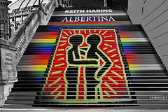 ----the stairs---- (christikren) Tags: austria architecture art christikren colour exhibition kunstmuseum lines perspective albertina vienna city keithharing museum sign travel stairways 2018