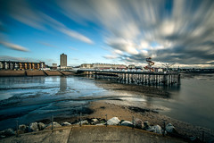 __I____I___ (Kevin HARWIN) Tags: water sea wet long exposure beach sand stone rocks pier building flats clouds movement sky blue canon eos m3 sigma 1020mm lens herne bay kent south east uk england britain