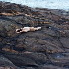 - (lia_niobe) Tags: female sea seaside north rock helsinki finland island body stone light shade shadows form contrast mimicking imitating