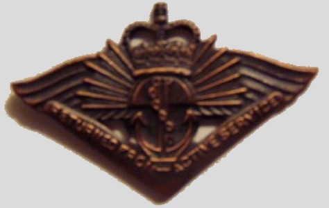 Returned from Active Service Badge. This is a Badge (not a medal) that you may ask to recieve on return from active service.