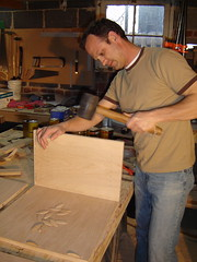 Whacking Helps (mobil'homme) Tags: cabinet furniture glue denver rubber mallet plywood clamps jasonswihart mobilhomme biscuitjoiner whacking