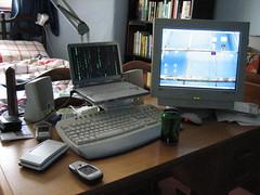 computer desk mydesk phone nintendods linux