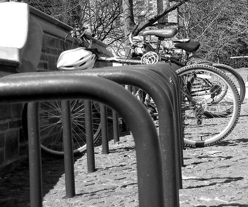 bike racks at ho plaza -bw -cropped