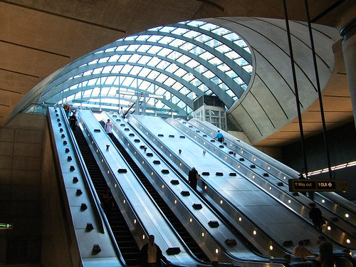 """Canary Wharf Tube Entrance Escalators • <a style=""""font-size:0.8em;"""" href=""""http://www.flickr.com/photos/41894159895@N01/13689952/"""" target=""""_blank"""">View on Flickr</a>"""