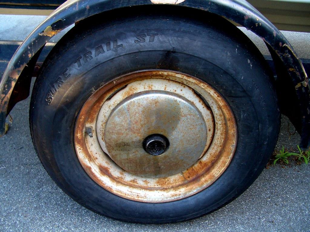 Rusty Boat Trailer Wheel