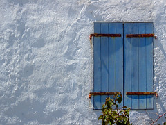 Window Window on the wall (mnadi) Tags: blue white macro texture window colors wall closeup architecture greece lonely closeups أزرق cefalonia