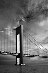 Verrazano Sunset (bikeracer) Tags: bridge sunset sky blackandwhite reflection water clouds 1025fav saveme5 deleteme10 seagull gorgeous narrows verrazano interestingness480 i500 explore15may05