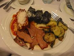 Combination Plate, Yanni's (Metahari) Tags: acen05 acen yannis chicago lamb moussaka eggplant dolmades greek dinner notes animecentral 2005